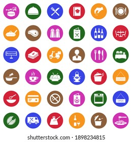 Restaurant Icons. White Flat Collection In Circle. Vector Illustration.
