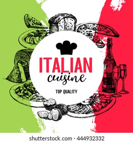 Restaurant Italian cuisine menu design. Vintage hand drawn sketch vector illustration