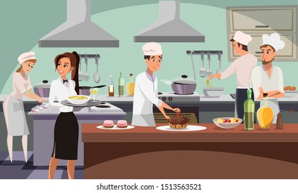 Restaurant kitchen flat vector illustration. Cafe workers in professional uniform cooking food. Cook baking chocolate cake cartoon character. Cafeteria smiling waitress holding tray with plate