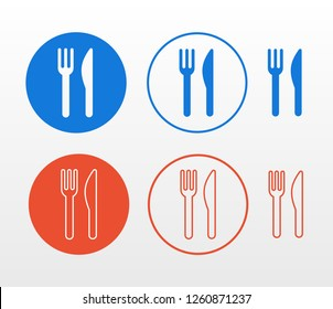 Restaurant knife and fork flat icon set (single color, outline and fill)