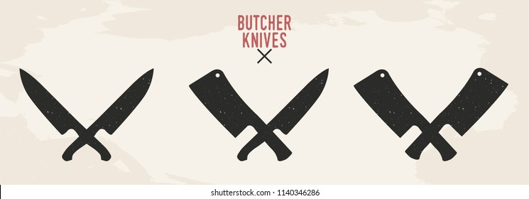 Restaurant knives set. Meat knives. Chef's knife and Meat cleaver isolated on old background. Vintage design. Vector illustration.