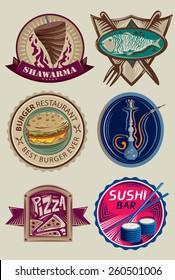 Restaurant Label Collection, Shawarma Menu, Sushi Bar, Sea Food, Hookah Bar, Burger Restaurant, And Pizza (Vector Art)