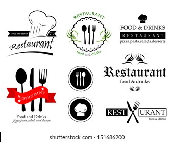 Restaurant Labels Set - Isolated On White Background - Vector Illustration, Graphic Design Editable For Your Design.