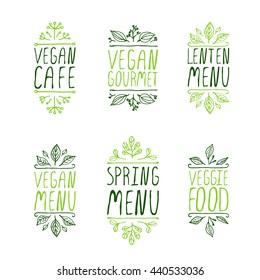 Restaurant labels. Suitable for ads, signboards, menu and web banner designs. Veggie food. Spring menu. Vegan cafe. Vegan menu. Lenten menu. Vegan gourmet