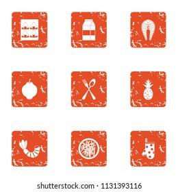 Restaurant level icons set. Grunge set of 9 restaurant level vector icons for web isolated on white background