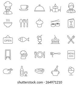Restaurant line icons set.Vector