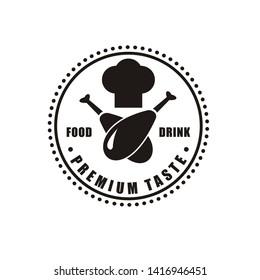 Restaurant logo design with chef hat symbol and chicken
