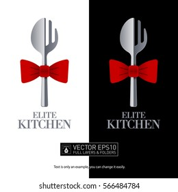 Restaurant logo design with fork and spoon for your corporate designs. Isolated vector icon.