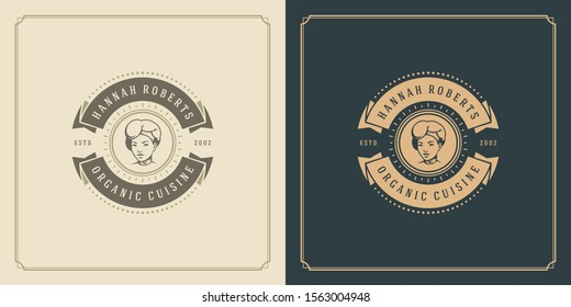 Restaurant logo design vector illustration chef woman face in hat silhouette, good for restaurant menu and cafe badge. Vintage typography emblem template with decoration and symbols.