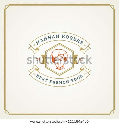f177266acead2 Restaurant logo design vector illustration. Chef woman face in hat  silhouette, good for restaurant menu and cafe badge. Vintage typography  emblem template.