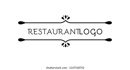 Restaurant logo. Flourish symbol. Original dividers. Abstract element for template. Vector illustration, flat design