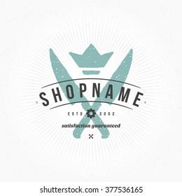 Restaurant Logo Hand Drawn Template. Vector Design Element Vintage Style for Logotype, Label, Badge Menu Design. Restaurant Logo, Knifes Logo, Crown Logo, Cafe Logo, Restaurant Sign, Vintage Logo.