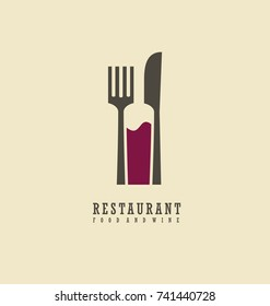 Restaurant logo with knife, fork and wine bottle in negative space. Food and wine symbol design. Creative emblem for restaurant or wine bar.