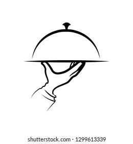 Restaurant logo or label. Menu, food service symbol. Vector illustration - Vector
