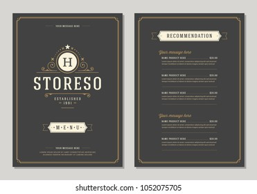 Restaurant logo and menu design vector brochure template. Luxury ornament.