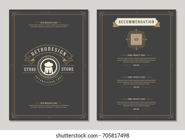Restaurant logo and menu design vector brochure template. Beer cup silhouette.