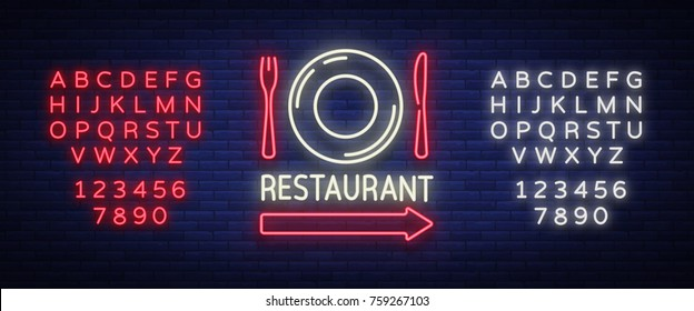 Restaurant logo, sign, emblem in neon style. A glowing signboard, nightly bright banner. Glowing neon night advertisement of a restaurant, cafe snack bar. Vector illustration. Editing text neon sign.