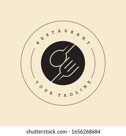Restaurant logo with spoon and fork icon, modern concept of lines.