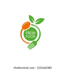Restaurant logo with spoon, fork and leaf illustration, fresh food icon vector