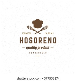 Restaurant Logo Template. Vector Design Element Vintage Style for Logotype, Label, Badge, Emblem. Brewery Logo, Restaurant Label, Cafe Logo, Whisk Icon, Retro Logo, Chef Cook Hat Symbol, Logo Vector.
