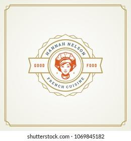 Restaurant logo template vector illustration. Chef woman face in hat silhouette, good for restaurant menu and cafe badge. Vintage typography emblem design.