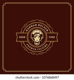 Restaurant logo template vector illustration. Chef woman face in hat silhouette, good for restaurant menu and cafe badge. Vintage typography emblem design.