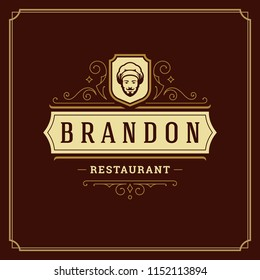 Restaurant logo template vector illustration. Chef face silhouette, good for restaurant menu and cafe badge. Vintage typography emblem design.