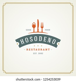 Restaurant logo template vector illustration. Kitchen tools silhouettes, good for restaurant menu and cafe badge. Vintage typography ornament emblem design.
