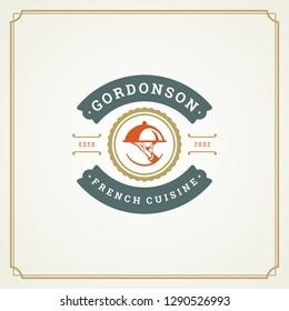Restaurant logo template vector illustration. Tray silhouette, good for restaurant menu and cafe badge. Vintage typography emblem design.
