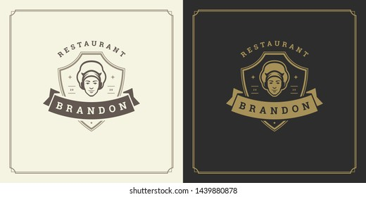 Restaurant logo template vector illustration man chef head in cap symbol and decoration good for menu and cafe sign. Vintage typography emblem design.