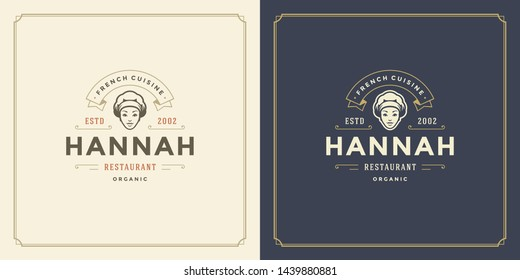 Restaurant logo template vector illustration woman chef head in cap symbol and decoration good for menu and cafe sign. Vintage typography emblem design.