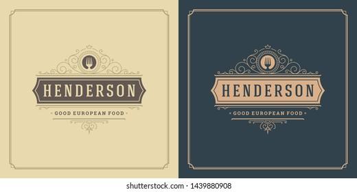 Restaurant logo template vector illustration fork symbol and ornament swirls good for menu and cafe sign. Vintage typography emblem design.