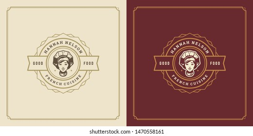 Restaurant logo template vector illustration female chef head in cap symbol and decoration good for menu and cafe sign. Vintage typography emblem design.