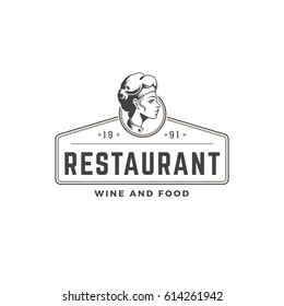 Restaurant logo template vector object for logotype or badge Design. Trendy retro style illustration, Chef woman Giving Food silhouette.
