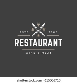 Restaurant logo template vector object for logotype or badge Design. Trendy retro style illustration, Knifes cross silhouette.