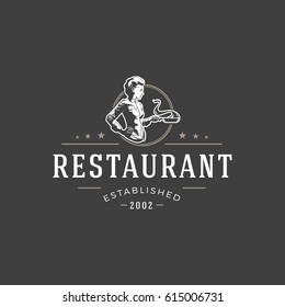 Restaurant logo template vector object for logotype or badge Design. Trendy retro style illustration, Chef woman cooking food silhouette.