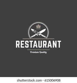 Restaurant logo template vector object for logotype or badge Design. Trendy retro style illustration, Knifes cross silhouette.
