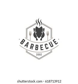 Restaurant logo template vector object for logotype or badge Design. Trendy retro style illustration, Barbecue grill chicken silhouette.