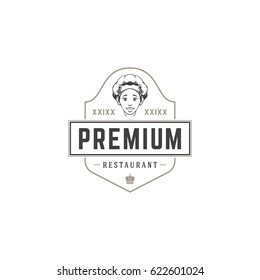 Restaurant logo template vector object for logotype or badge Design. Trendy retro style illustration, Chef woman silhouette.