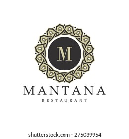 restaurant logo. vintage style with ornament isolated. vector illustration