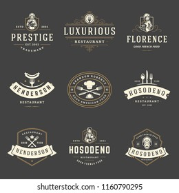 Restaurant logos design templates set vector illustration. Good for restaurant menu and cafe badges. Vintage typography elements and silhouettes.