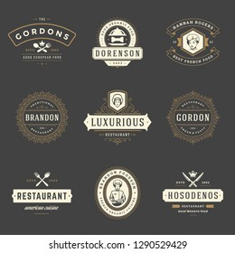 Restaurant logos design templates set vector illustration. Good for restaurant menu and cafe badges. Vintage typography elements and silhouettes.