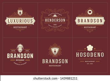 Restaurant logos templates set vector illustration good for menu labels and cafe badges. Vintage typography decoration design elements and symbols.