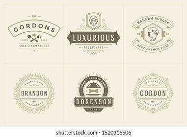 Restaurant logos templates set vector illustration good for menu labels and cafe badges. Vintage typography decoration design elements and symbols.
