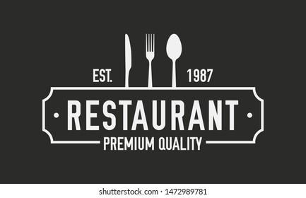 Restaurant luxury logo. Restaurant logo template with spoon, fork and knife. Vector illustration