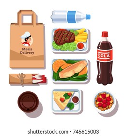 Restaurant meals delivery containers with food: meat, fish, cheese cake, oatmeal cereals, bottles with water, cola, coffee cup, paper package bag, disposable cutlery. Flat vector isolated illustration