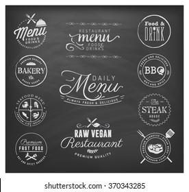 Restaurant Menu Badges and Design Elements on Chalkboard