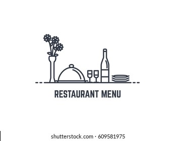Restaurant menu banner. Bottle of wine, cloche, tray with lid, two glasses and plates. Vase with flowers on the table. Flat thin line style. Romantic dinner concept. Bon appetit