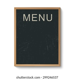 Restaurant menu blackboard template in a wooden frame. Isolated on white.