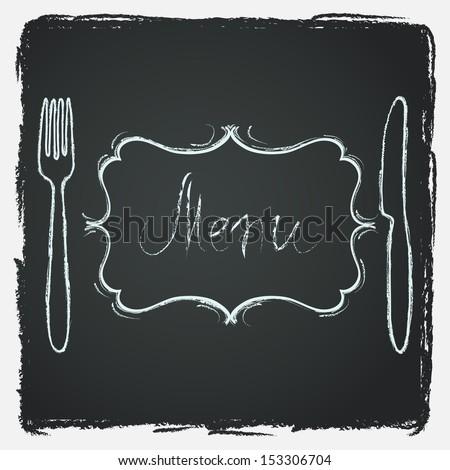 Chalkboard Background With Hand Drawn Knife Fork Curved Vintage Frame